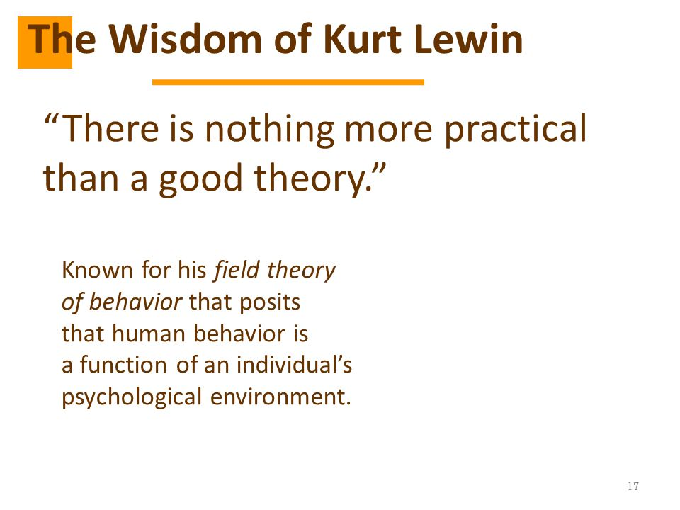 """17 """"There is nothing more practical than a good theory."""" The Wisdom of Kurt Lewin Known for his field theory of behavior that posits that human behavi"""