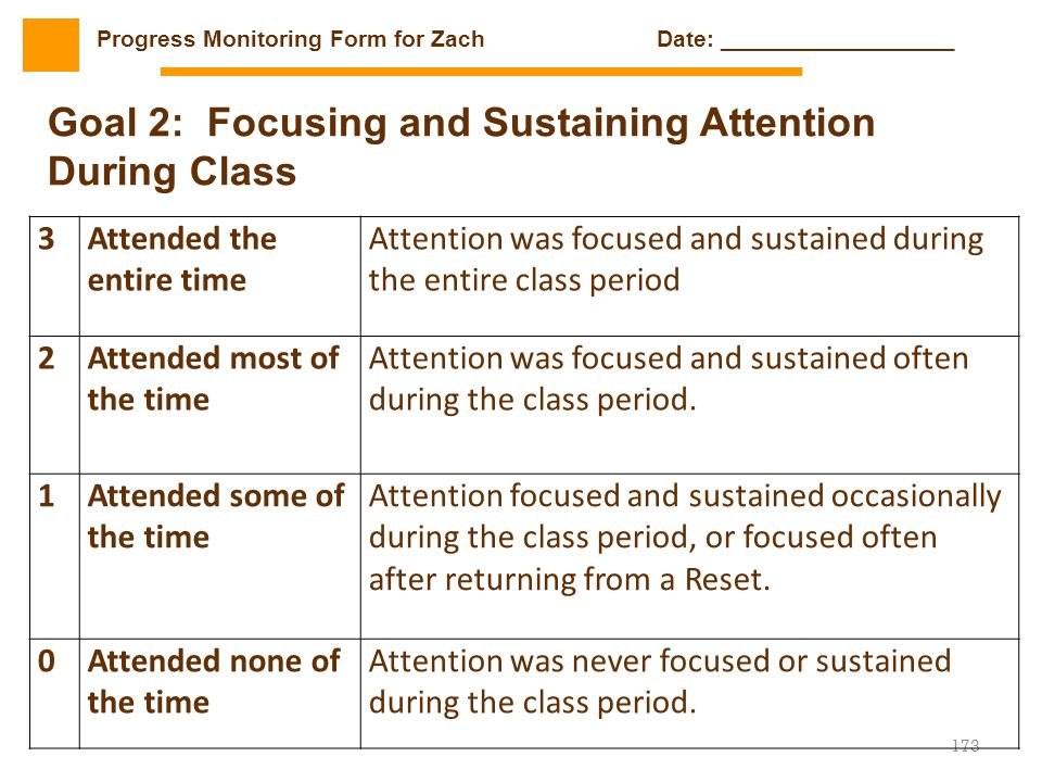 173 3Attended the entire time Attention was focused and sustained during the entire class period 2Attended most of the time Attention was focused and