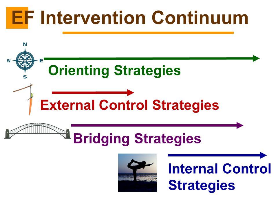 EF Intervention Continuum Orienting Strategies External Control Strategies Bridging Strategies Internal Control Strategies