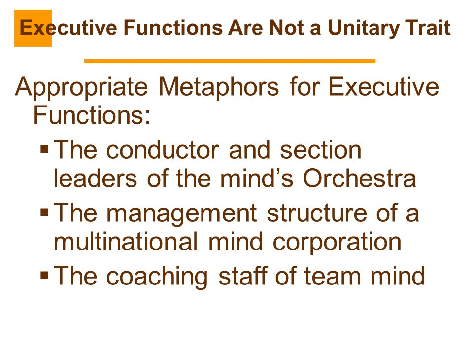 Appropriate Metaphors for Executive Functions:  The conductor and section leaders of the mind's Orchestra  The management structure of a multination