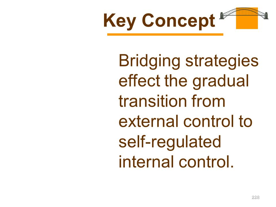 228 Bridging strategies effect the gradual transition from external control to self-regulated internal control. Key Concept