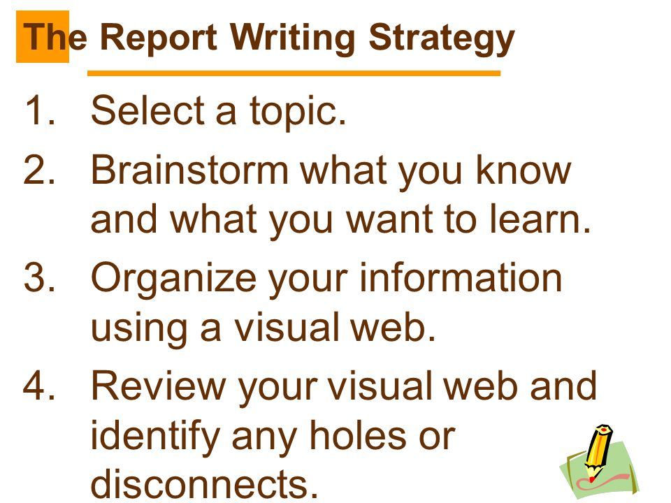 240 1.Select a topic. 2.Brainstorm what you know and what you want to learn. 3.Organize your information using a visual web. 4.Review your visual web