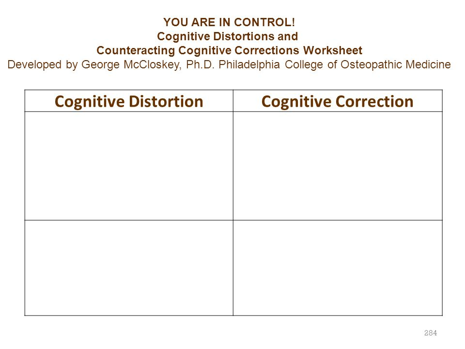 284 Cognitive DistortionCognitive Correction YOU ARE IN CONTROL! Cognitive Distortions and Counteracting Cognitive Corrections Worksheet Developed by