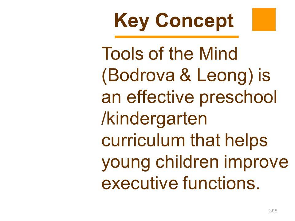 298 Tools of the Mind (Bodrova & Leong) is an effective preschool /kindergarten curriculum that helps young children improve executive functions. Key