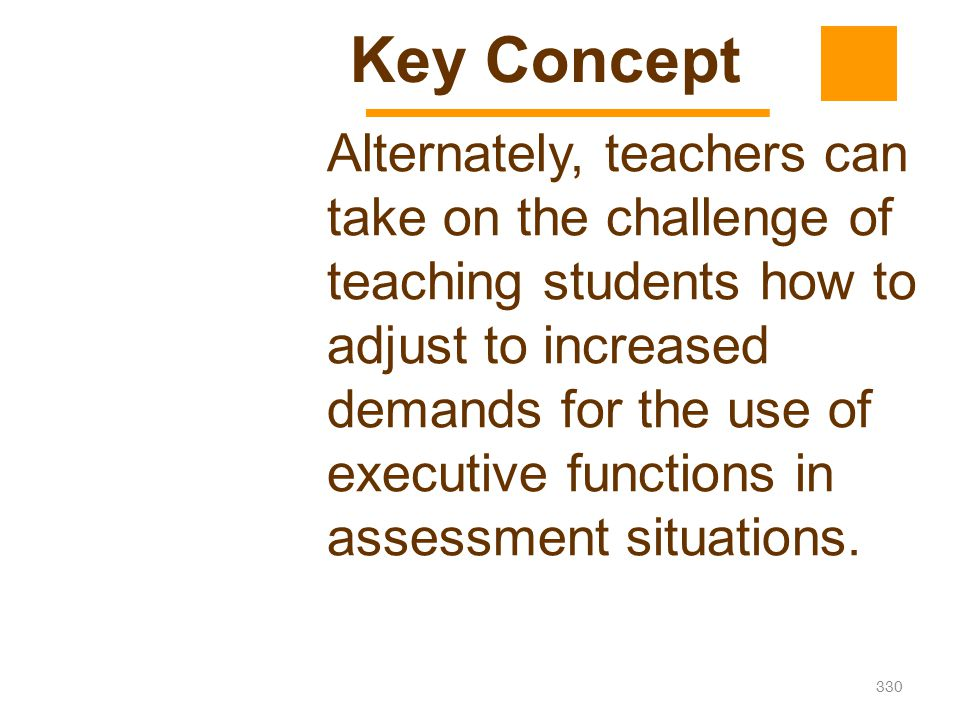 330 Alternately, teachers can take on the challenge of teaching students how to adjust to increased demands for the use of executive functions in asse