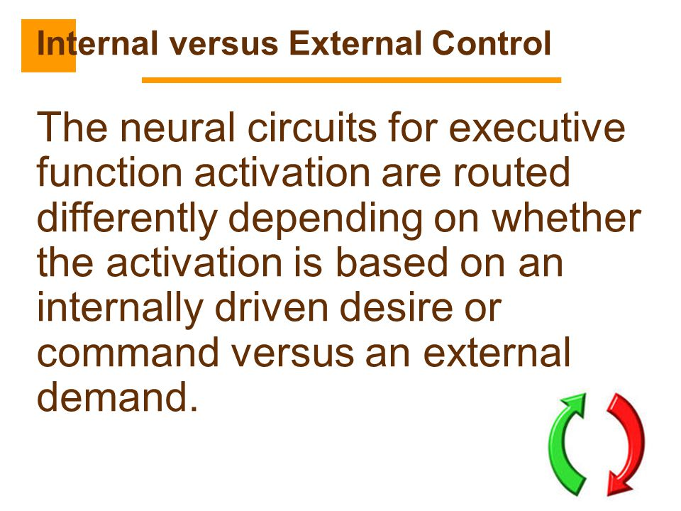 53 The neural circuits for executive function activation are routed differently depending on whether the activation is based on an internally driven d