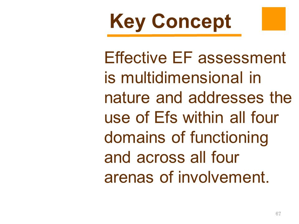67 Effective EF assessment is multidimensional in nature and addresses the use of Efs within all four domains of functioning and across all four arena