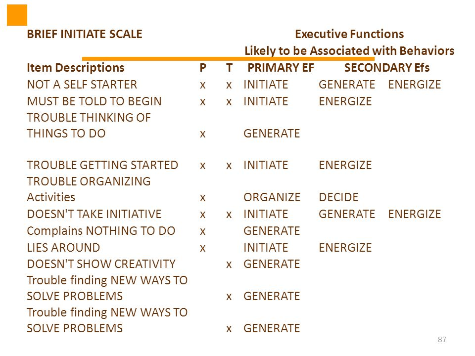 87 BRIEF INITIATE SCALEExecutive Functions Likely to be Associated with Behaviors Item DescriptionsPTPRIMARY EFSECONDARY Efs NOT A SELF STARTERxxINITI