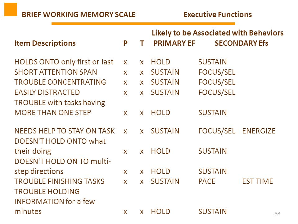 88 BRIEF WORKING MEMORY SCALEExecutive Functions Likely to be Associated with Behaviors Item DescriptionsPTPRIMARY EFSECONDARY Efs HOLDS ONTO only fir