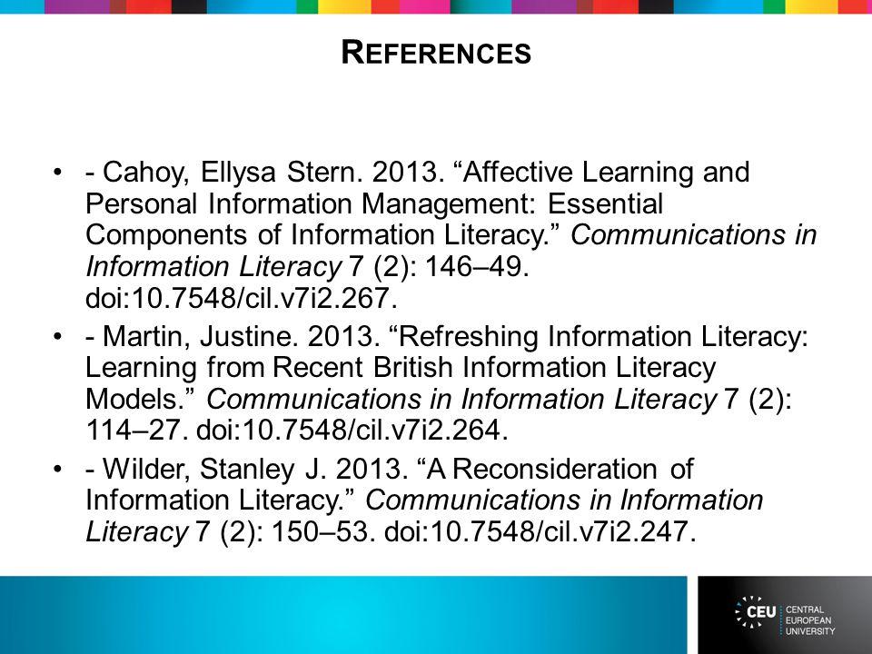 R EFERENCES - Cahoy, Ellysa Stern. 2013.