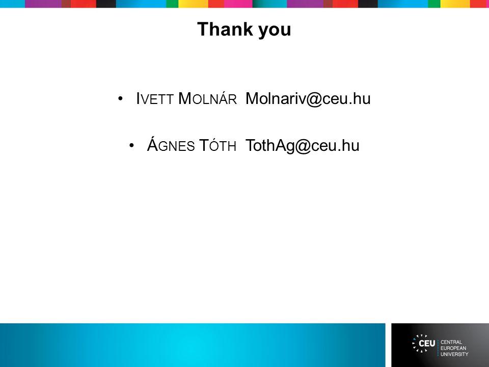 Thank you I VETT M OLNÁR Molnariv@ceu.hu Á GNES T ÓTH TothAg@ceu.hu