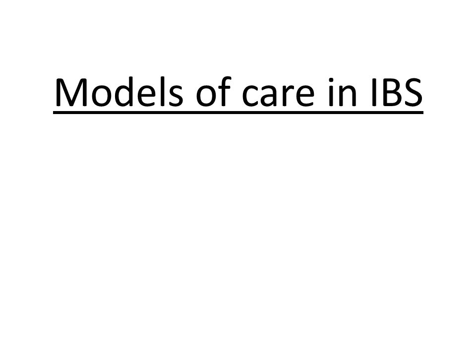 Models of care in IBS