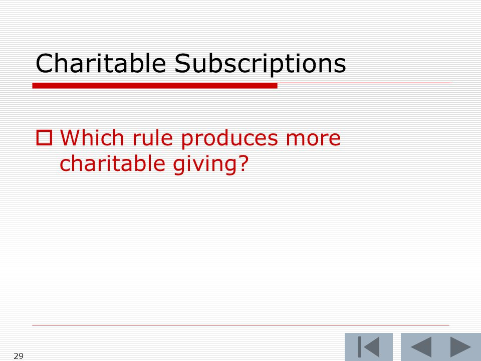 Charitable Subscriptions  Which rule produces more charitable giving? 29