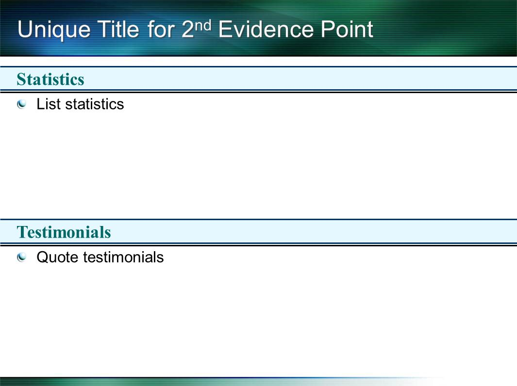 Unique Title for 2 nd Evidence Point List statistics Quote testimonials Statistics Testimonials