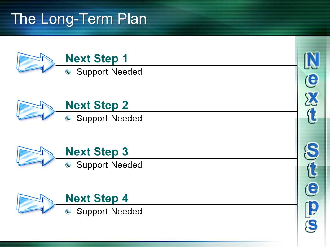 The Long-Term Plan Next Step 1 Support Needed Next Step 2 Support Needed Next Step 3 Support Needed Next Step 4 Support Needed