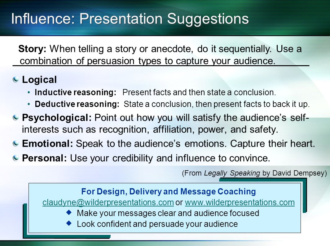 Influence: Presentation Suggestions Logical Inductive reasoning: Present facts and then state a conclusion.