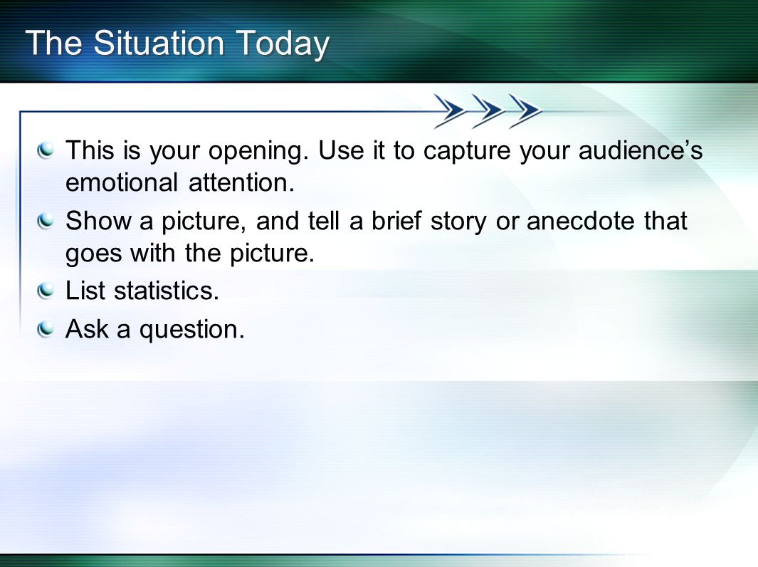 The Situation Today This is your opening. Use it to capture your audience's emotional attention.