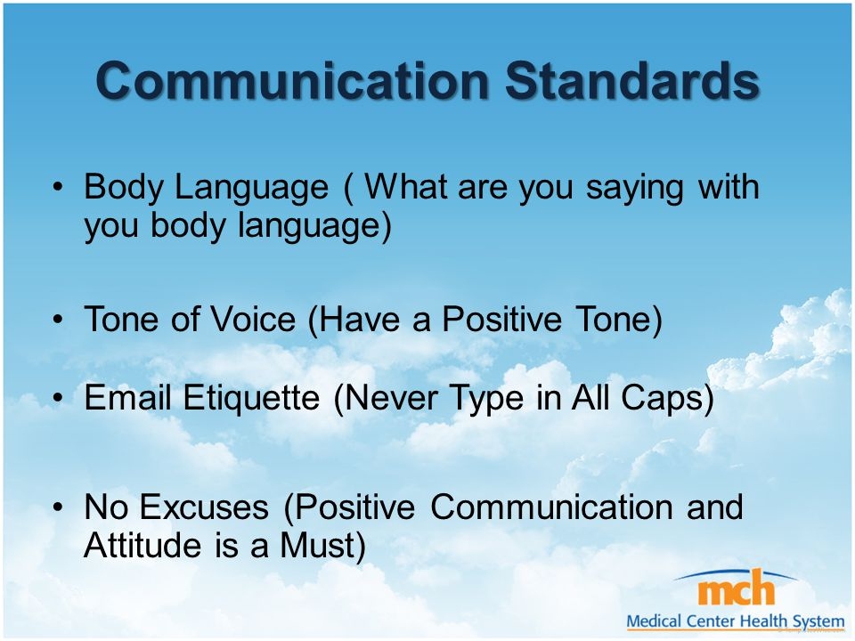 Communication Standards Body Language ( What are you saying with you body language) Tone of Voice (Have a Positive Tone) Email Etiquette (Never Type i