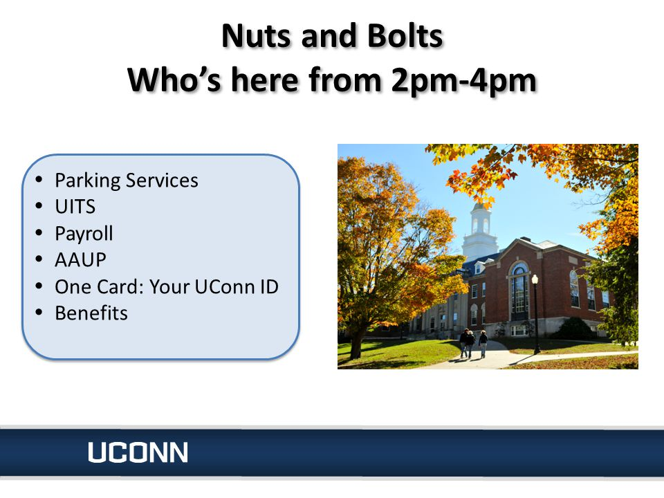 Nuts and Bolts Who's here from 2pm-4pm  Parking Services  UITS  Payroll  AAUP  One Card: Your UConn ID  Benefits