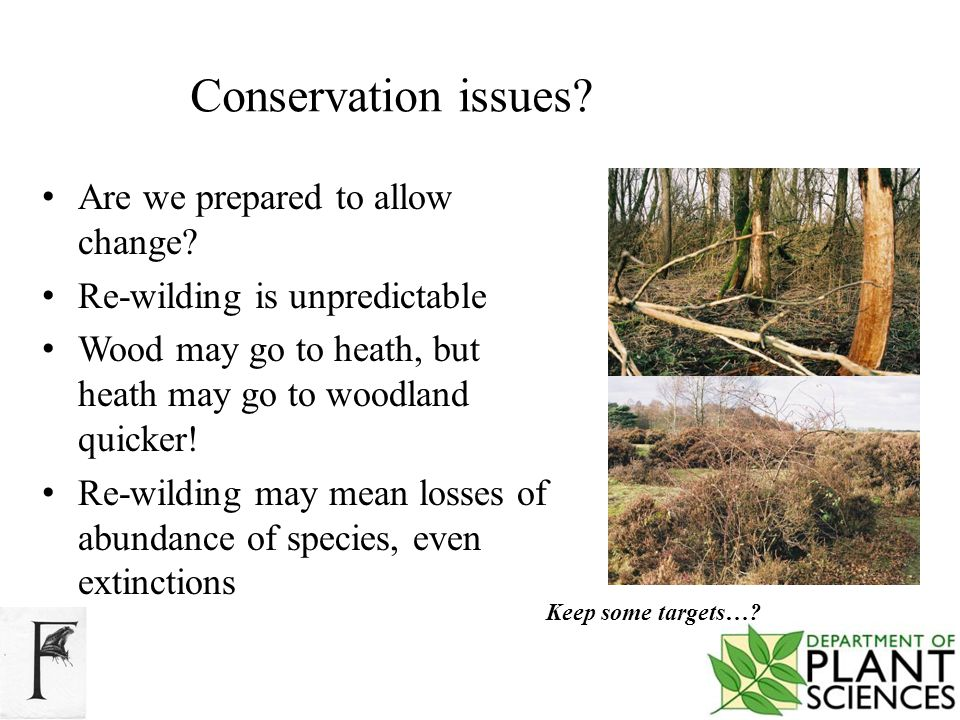 Conservation issues. Are we prepared to allow change.