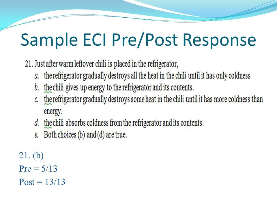 Sample ECI Pre/Post Response 21. (b) Pre = 5/13 Post = 13/13