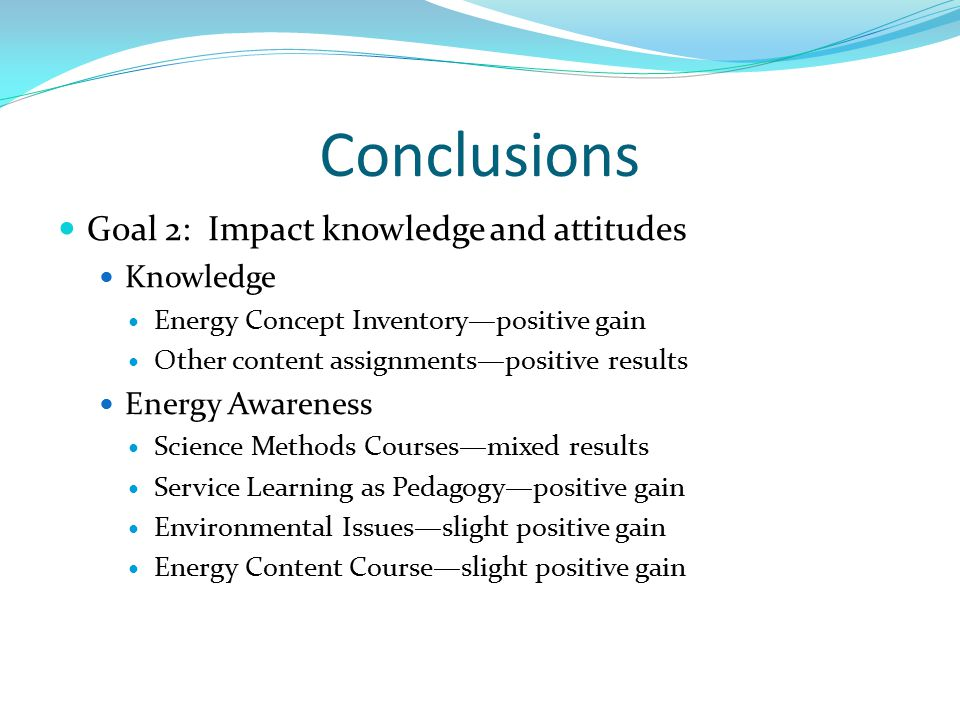 Conclusions Goal 2: Impact knowledge and attitudes Knowledge Energy Concept Inventory—positive gain Other content assignments—positive results Energy Awareness Science Methods Courses—mixed results Service Learning as Pedagogy—positive gain Environmental Issues—slight positive gain Energy Content Course—slight positive gain