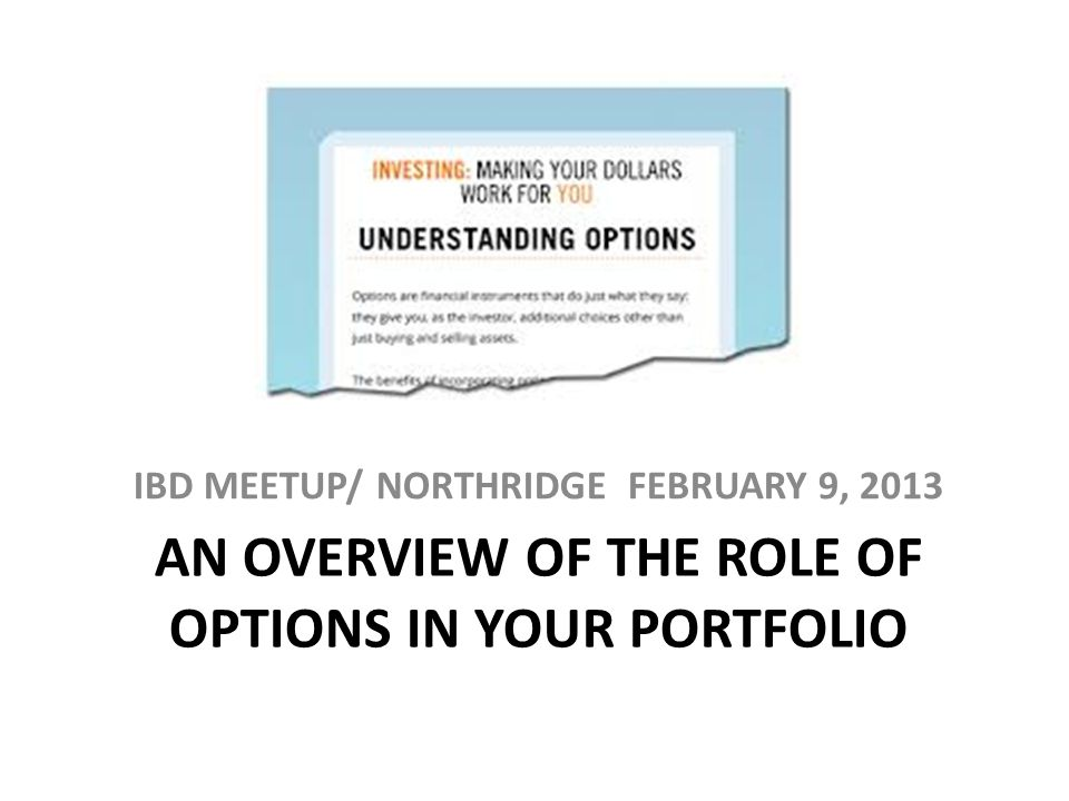 AN OVERVIEW OF THE ROLE OF OPTIONS IN YOUR PORTFOLIO IBD MEETUP/ NORTHRIDGE FEBRUARY 9, 2013