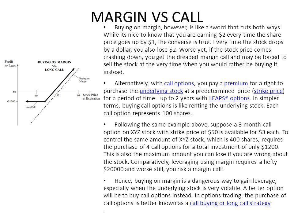 OPTIONS VS MARGINS For the investor, however, buying options provides inherent financial leverage.
