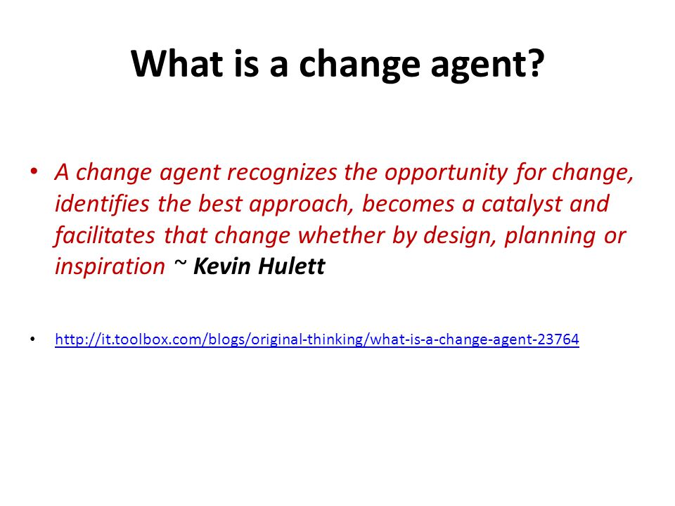 What is a change agent.