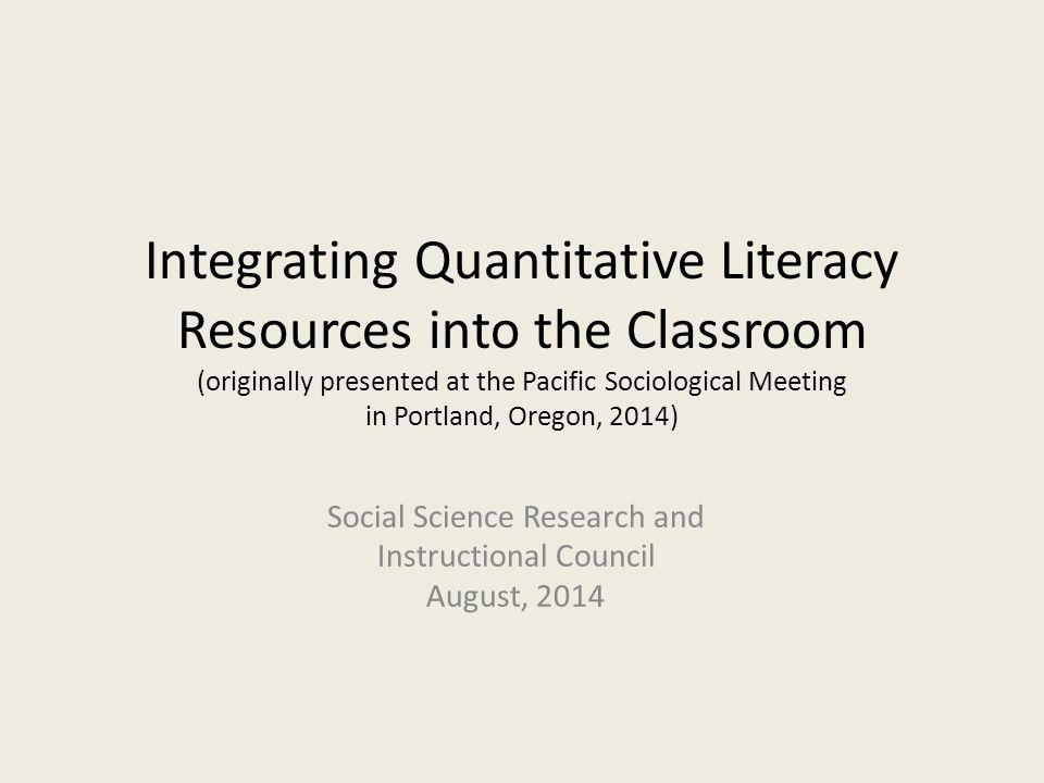 Agenda Quantitative Literacy Teaching Resources Survey Documentation and Analysis (SDA) Discussion