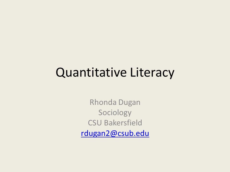 What is Quantitative Literacy (QL).