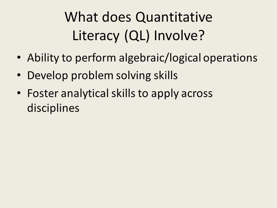 Dimensions of Quantitative Literacy (QL).