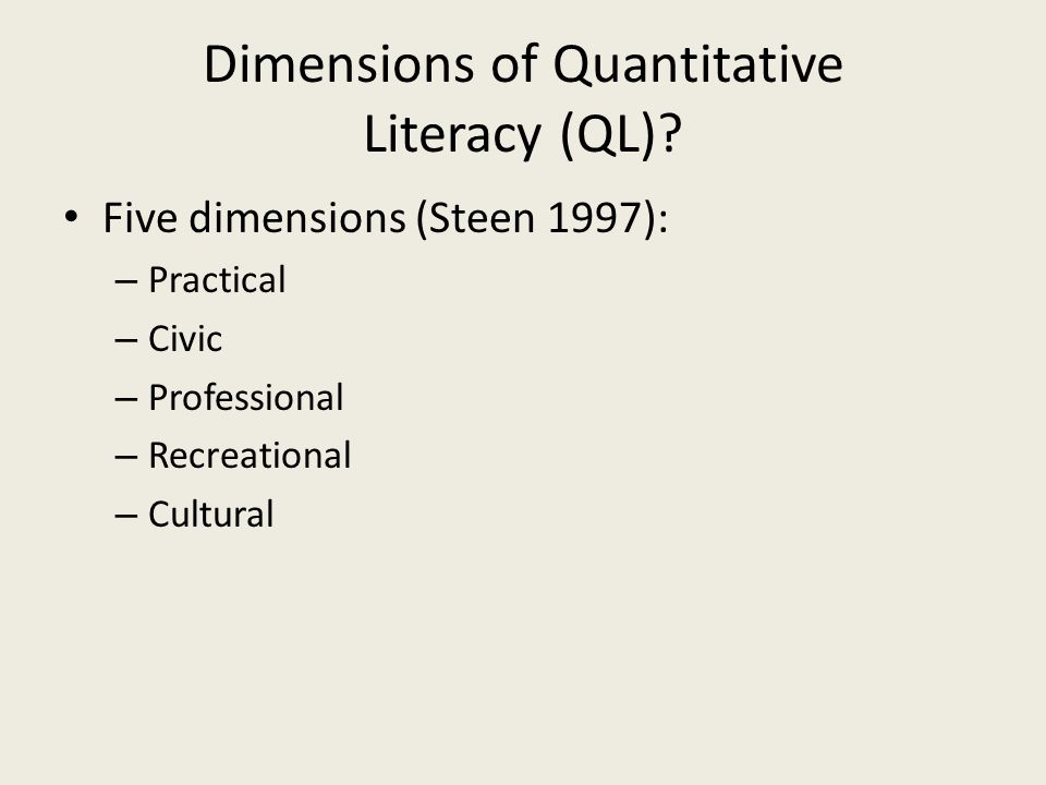 QL in Sociology American Sociological Association (ASA): focus on scientific literacy of sociology majors Address the scientific reasoning gap Increase integration of data analysis, computer literacy in undergraduate sociology courses Key: early classroom exposure