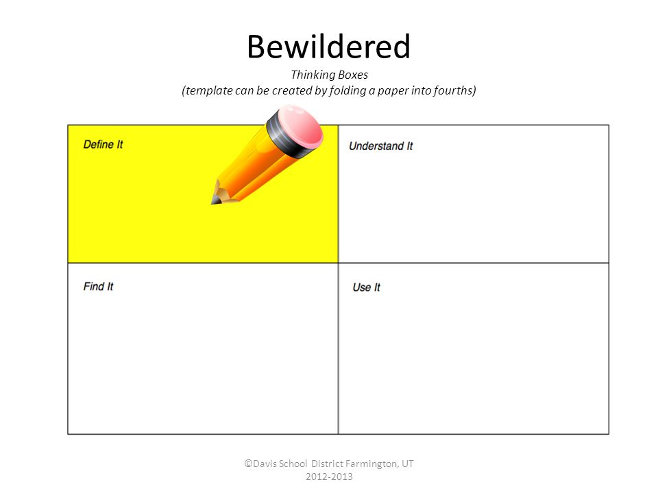Bewildered Thinking Boxes (template can be created by folding a paper into fourths) ©Davis School District Farmington, UT 2012-2013