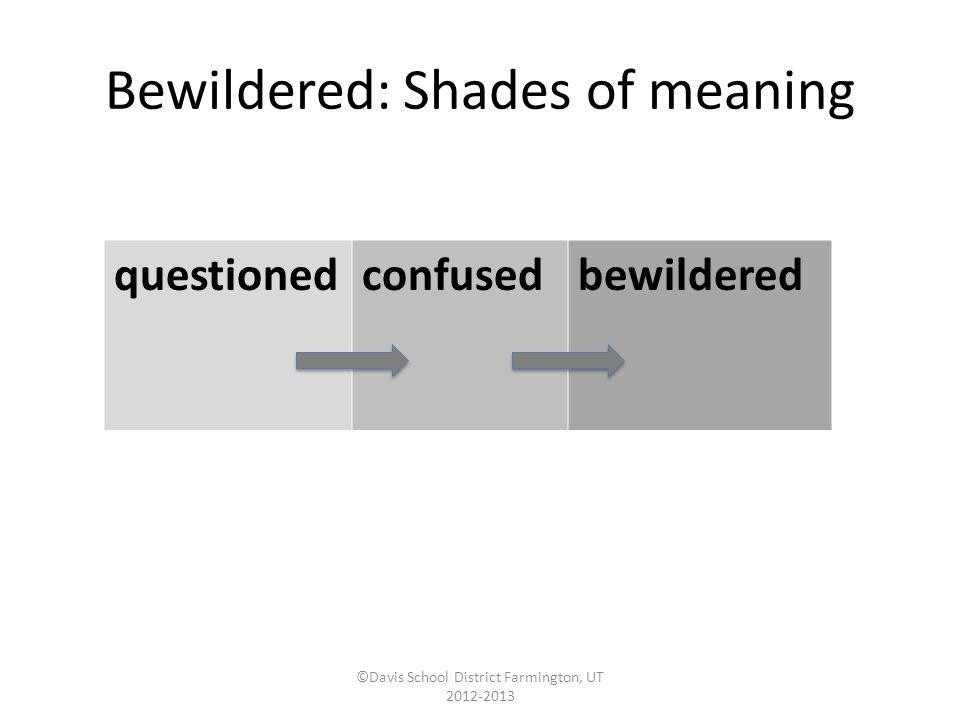 Bewildered: Synonyms/Antonyms ©Davis School District Farmington, UT 2012-2013