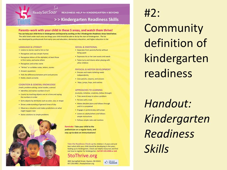 #2: Community definition of kindergarten readiness Handout: Kindergarten Readiness Skills