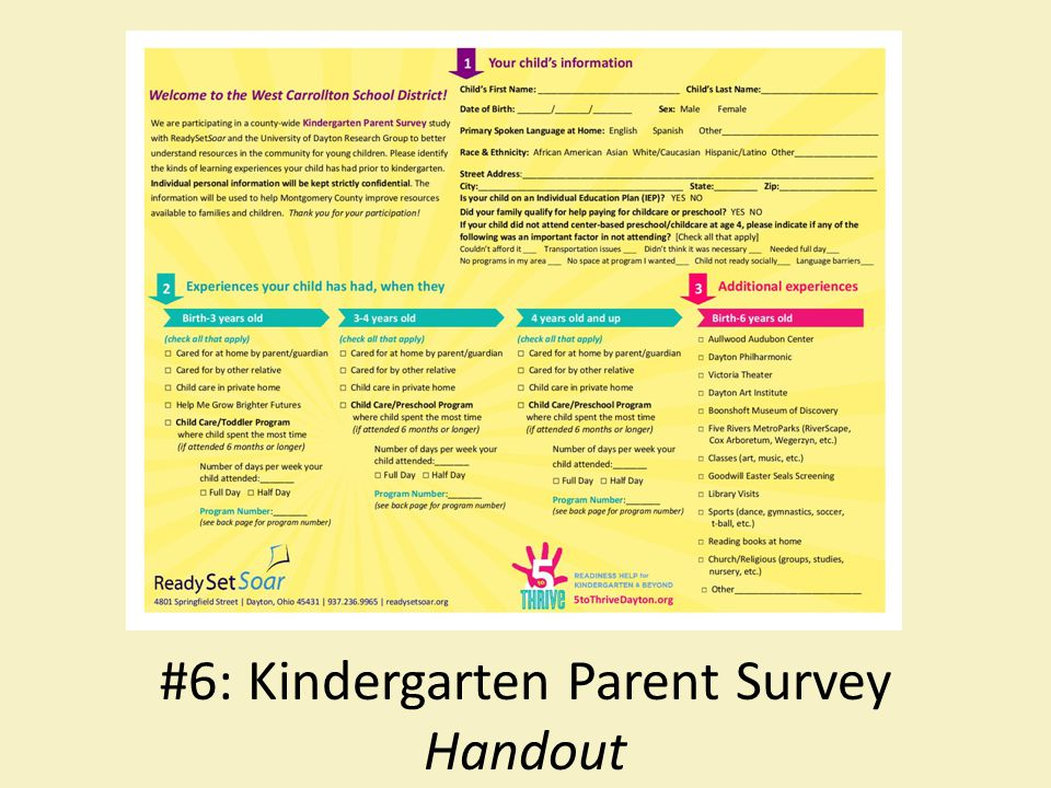 #6: Kindergarten Parent Survey Handout