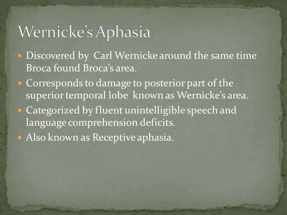 Discovered by Carl Wernicke around the same time Broca found Broca's area.
