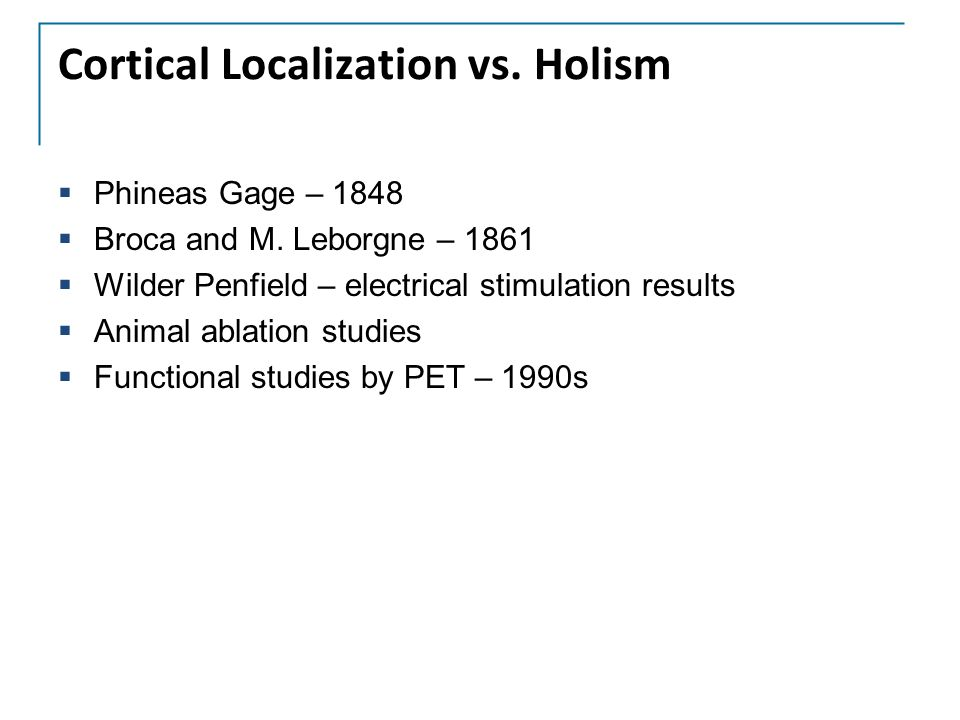 Cortical Localization vs. Holism  Phineas Gage – 1848  Broca and M. Leborgne – 1861  Wilder Penfield – electrical stimulation results  Animal abla