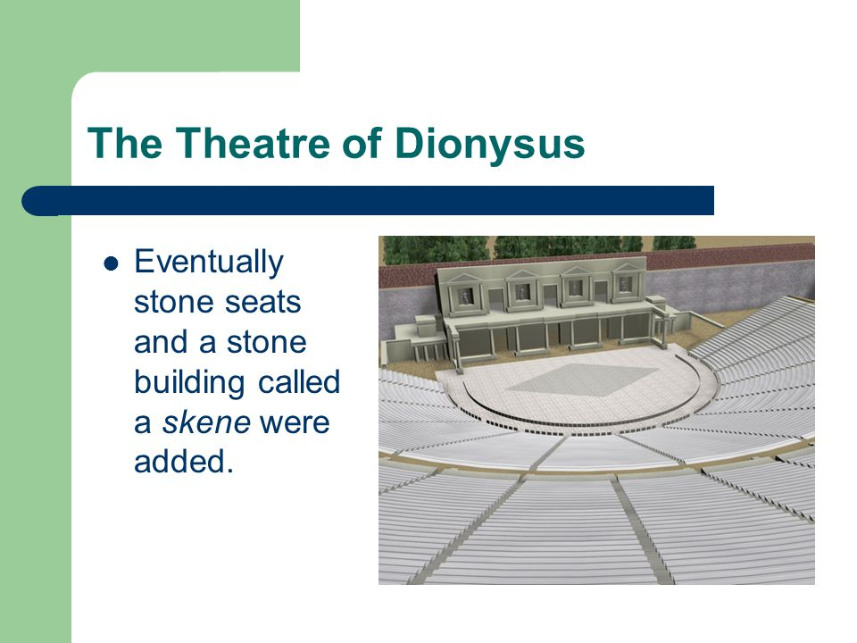 The Theatre of Dionysus Eventually stone seats and a stone building called a skene were added.