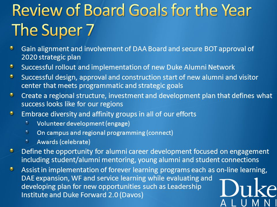 Gain alignment and involvement of DAA Board and secure BOT approval of 2020 strategic plan Successful rollout and implementation of new Duke Alumni Network Successful design, approval and construction start of new alumni and visitor center that meets programmatic and strategic goals Create a regional structure, investment and development plan that defines what success looks like for our regions Embrace diversity and affinity groups in all of our efforts Volunteer development (engage) On campus and regional programming (connect) Awards (celebrate) Define the opportunity for alumni career development focused on engagement including student/alumni mentoring, young alumni and student connections Assist in implementation of forever learning programs each as on-line learning, DAE expansion, WF and service learning while evaluating and developing plan for new opportunities such as Leadership Institute and Duke Forward 2.0 (Davos)