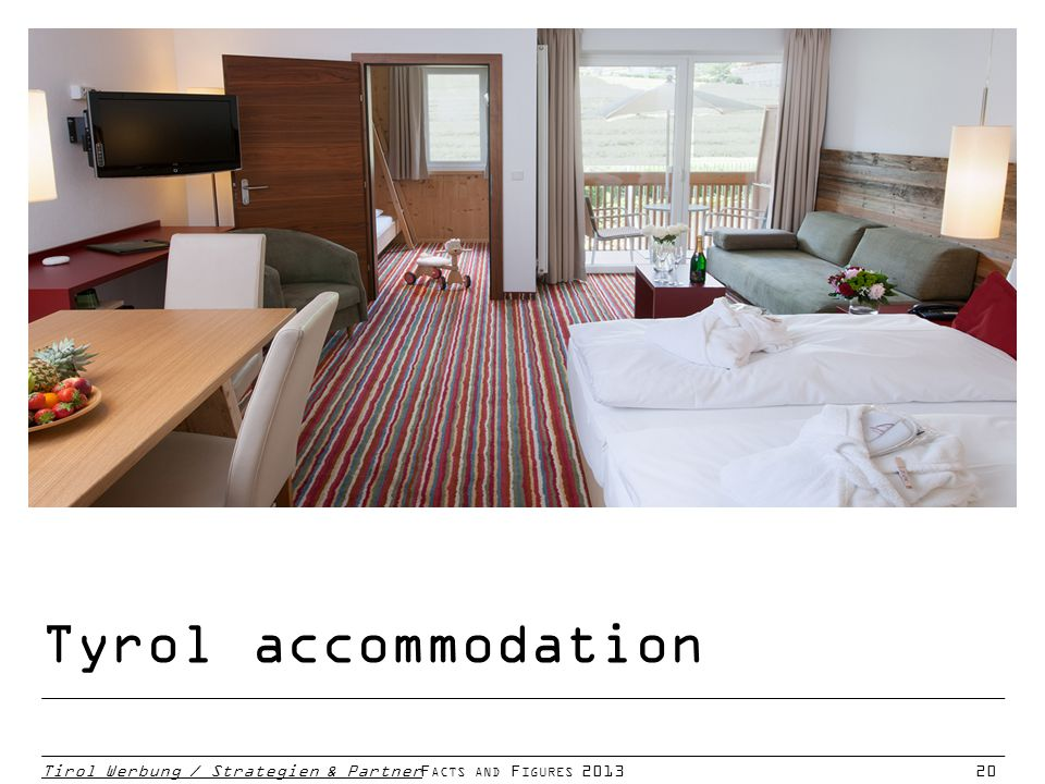 Tirol Werbung / Strategien & PartnerF ACTS AND F IGURES 201320 Tyrol accommodation
