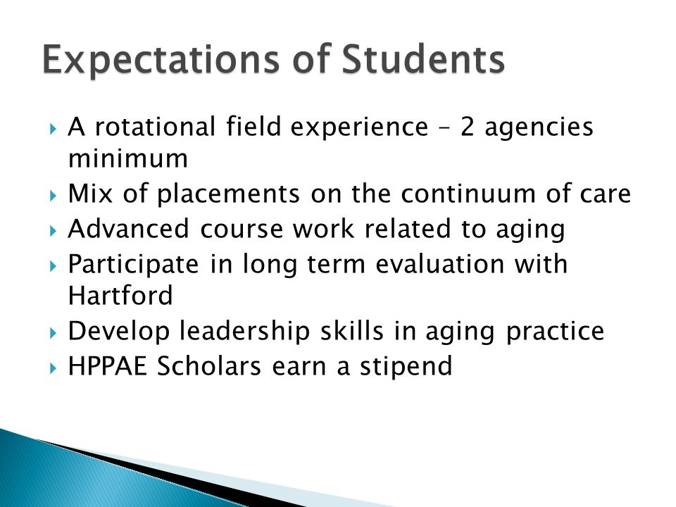  A rotational field experience – 2 agencies minimum  Mix of placements on the continuum of care  Advanced course work related to aging  Participat