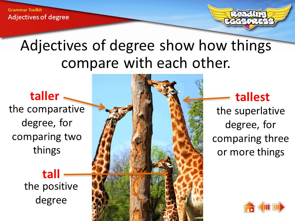 Grammar Toolkit Adjectives of degree Adjectives of degree show how things compare with each other.
