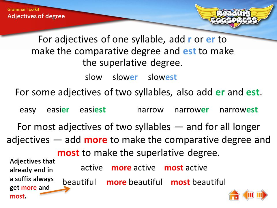 Grammar Toolkit Adjectives of degree Add er or est to these sentences.