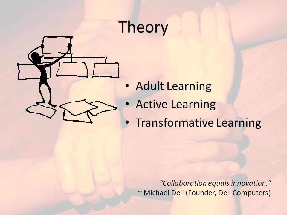 Theory Adult Learning Active Learning Transformative Learning Collaboration equals innovation. ~ Michael Dell (Founder, Dell Computers)