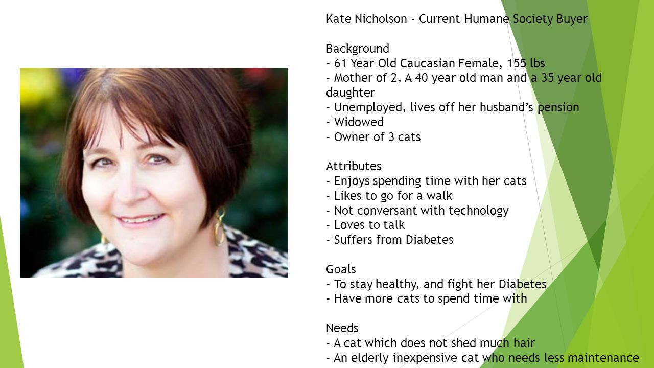 Kate Nicholson - Current Humane Society Buyer Background - 61 Year Old Caucasian Female, 155 lbs - Mother of 2, A 40 year old man and a 35 year old daughter - Unemployed, lives off her husband's pension - Widowed - Owner of 3 cats Attributes - Enjoys spending time with her cats - Likes to go for a walk - Not conversant with technology - Loves to talk - Suffers from Diabetes Goals - To stay healthy, and fight her Diabetes - Have more cats to spend time with Needs - A cat which does not shed much hair - An elderly inexpensive cat who needs less maintenance