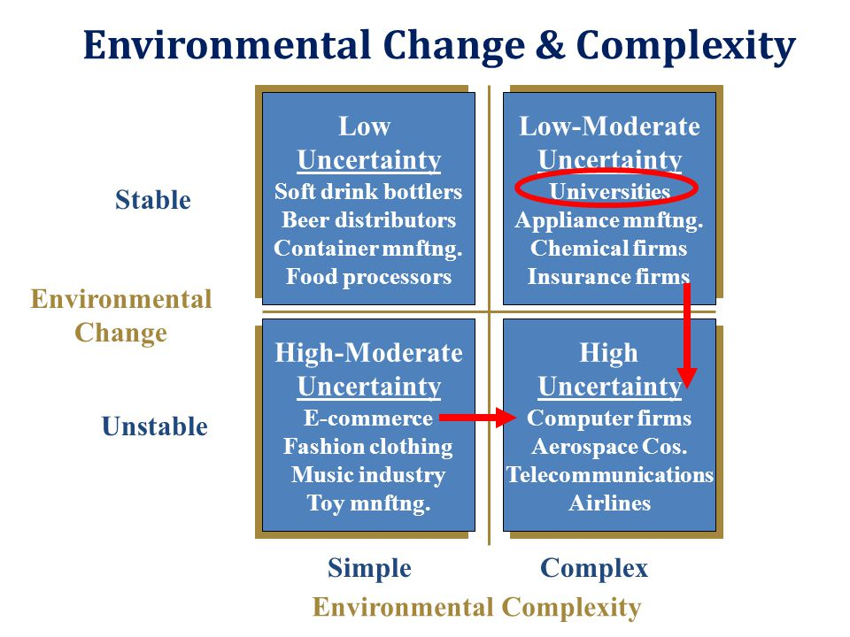 Environmental Change & Complexity Low Uncertainty Soft drink bottlers Beer distributors Container mnftng. Food processors Low Uncertainty Soft drink b