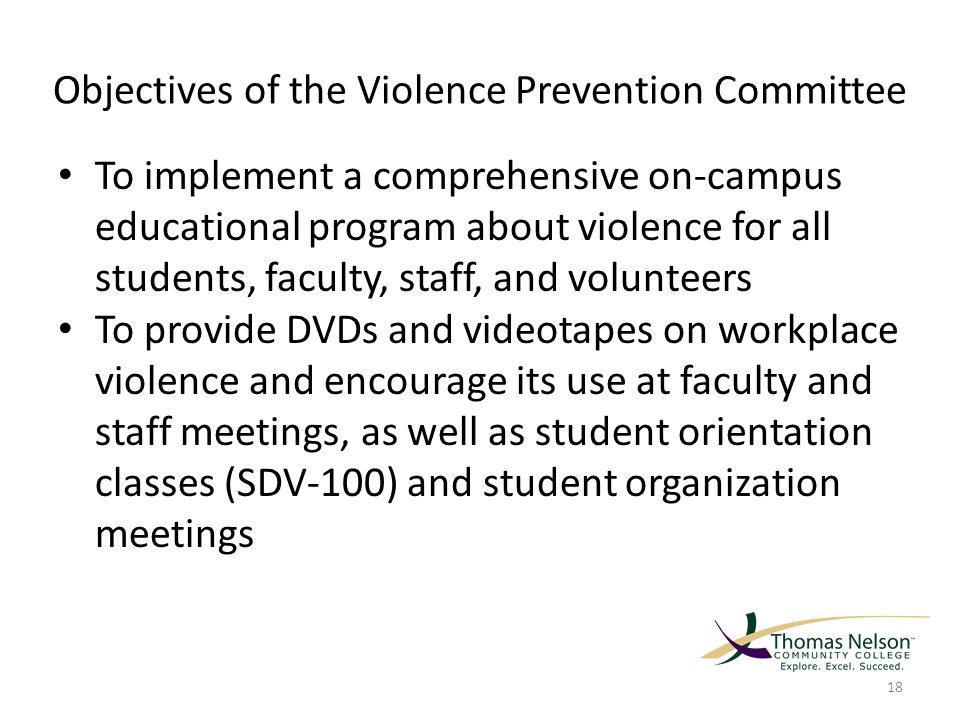 Objectives of the Violence Prevention Committee To implement a comprehensive on-campus educational program about violence for all students, faculty, staff, and volunteers To provide DVDs and videotapes on workplace violence and encourage its use at faculty and staff meetings, as well as student orientation classes (SDV-100) and student organization meetings 18