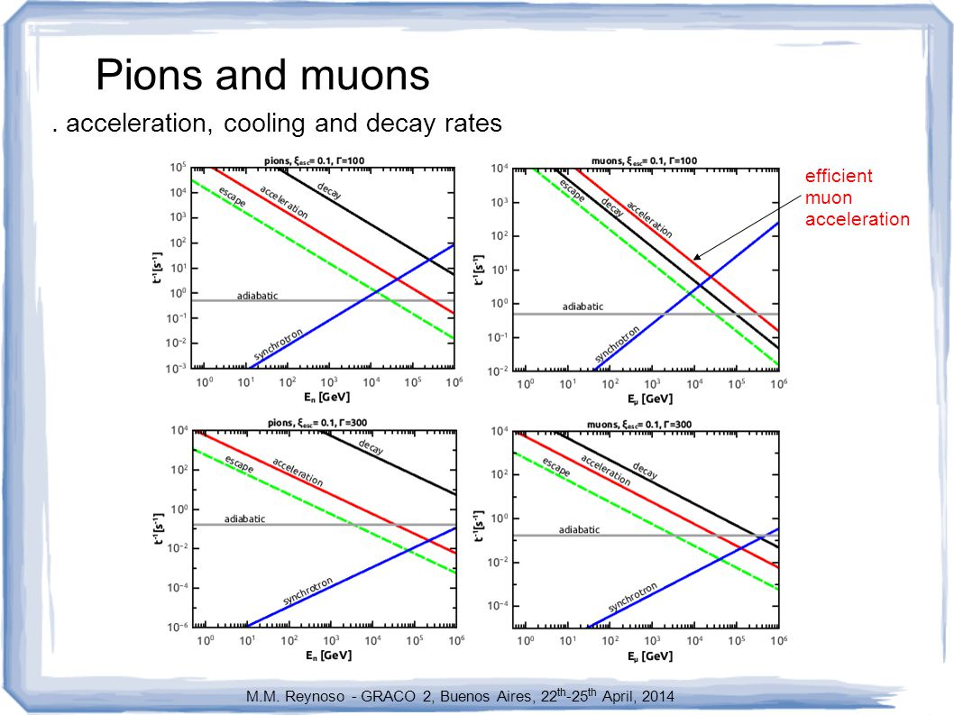 Pions and muons. acceleration, cooling and decay rates M.M.